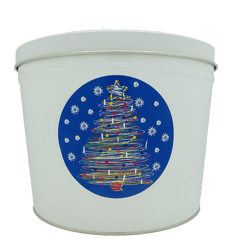 Cassie's Gourmet Popcorn 2 Gallon Tin Christmas Tree Swirl
