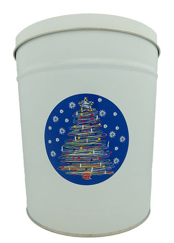 Cassie's Gourmet Popcorn 3.5 Gallon Tin Christmas Tree Swirl