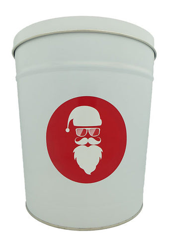 Cassie's Gourmet Popcorn 3.5 Gallon Tin Christmas Cool Santa
