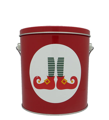 Cassie's Gourmet Popcorn 1 Gallon Tin Christmas Elf Feet