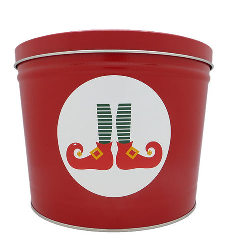 Cassie's Gourmet Popcorn 2 Gallon Tin Christmas Elf Feet