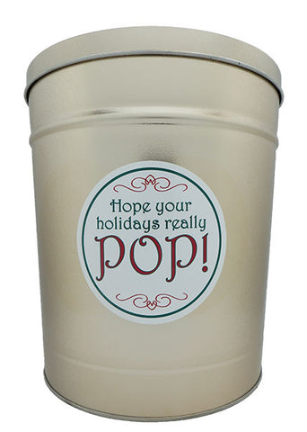 Cassie's Gourmet Popcorn 3.5 Gallon Tin Christmas Hope Your Holidays Really Pop!