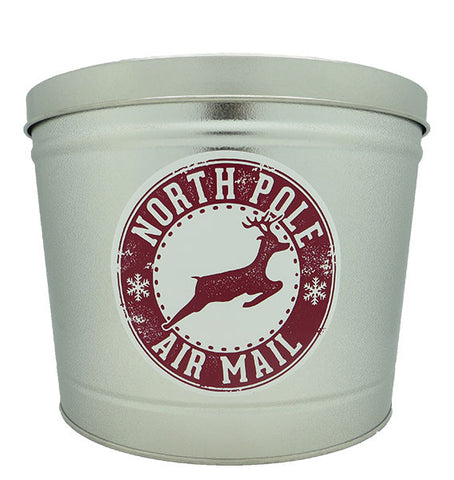 Cassie's Gourmet Popcorn 2 Gallon Tin Christmas North Pole Air Mail