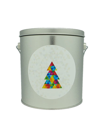 Cassie's Gourmet Popcorn 1 Gallon Tin Prism Christmas Tree