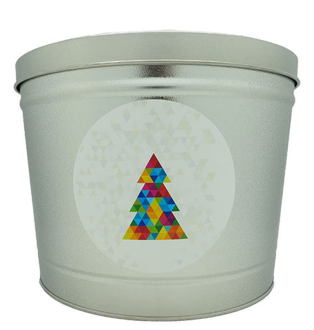 Cassie's Gourmet Popcorn 2 Gallon Tin Prism Christmas Tree