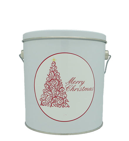 Cassie's Gourmet Popcorn 1 Gallon Tin Red Scroll Christmas Tree