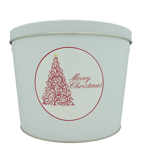Cassie's Gourmet Popcorn 2 Gallon Tin Red Scroll Christmas Tree