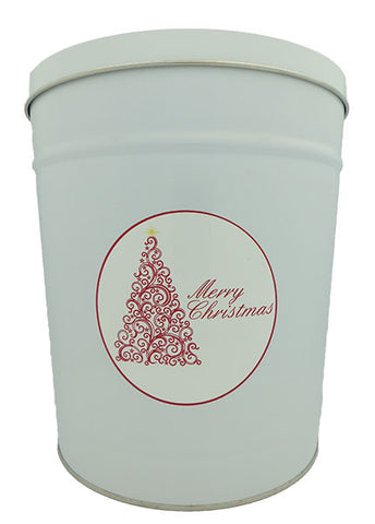 Cassie's Gourmet Popcorn 3.5 Gallon Tin Red Scroll Merry Christmas Tree