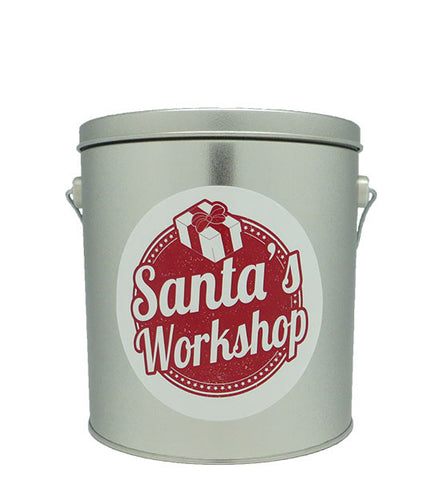 Cassie's Gourmet Popcorn 1 Gallon Tin Christmas Santa's Workshop