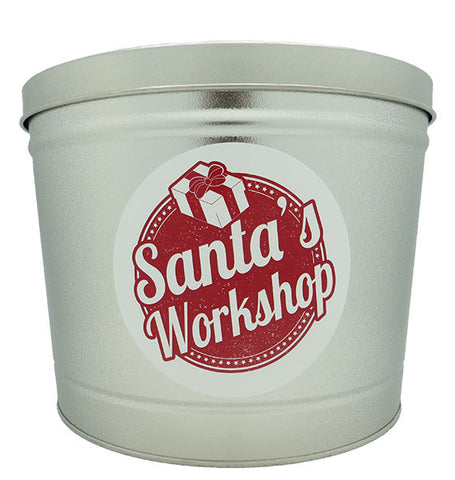 Cassie's Gourmet Popcorn 2 Gallon Tin Christmas Santa's Workshop