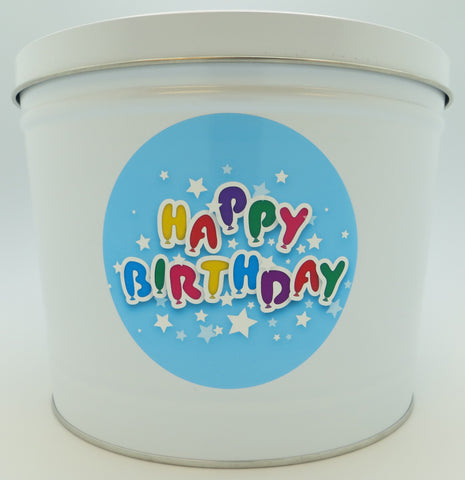 Cassie's Gourmet Popcorn Happy Birthday Tin 3.5 Gallon