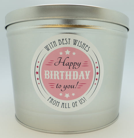 Cassie's Gourmet Popcorn Happy Birthday Tin 2 Gallon