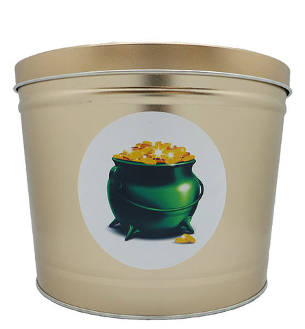 Cassie's Gourmet Popcorn 2 Gallon Tin St. Patrick's Day Pot of Gold