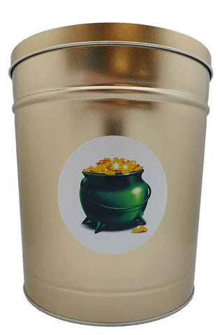 Cassie's Gourmet Popcorn 3.5 Gallon Tin St. Patrick's Day Pot of Gold