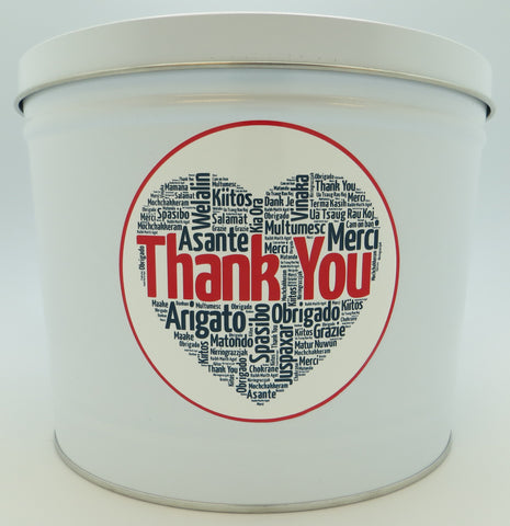 Cassie's Gourmet Popcorn Thank You Gift Tin 3.5 Gallon