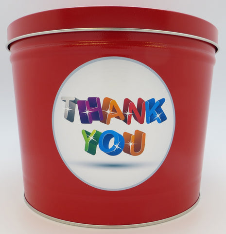 Cassie's Gourmet Popcorn Thank You Create you Own Tin 3.5 Gallon