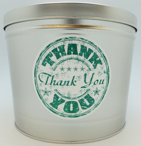Cassie's Gourmet Popcorn Thank You Create your Own Tin 2 Gallon