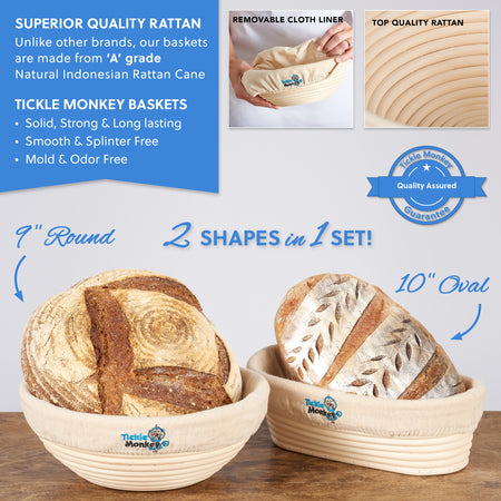 Tickle Monkey Sourdough Bread Banneton Basket Set for Proofing Bread