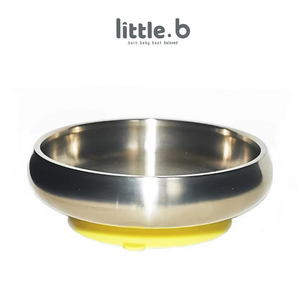 Baby Feeding Stainless Steel-Double-ply 316 Stainless Steel Suction Cereal Bowl - Yellow