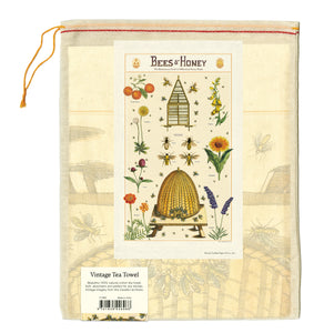 Cavallini Tea Towel - Bees & Honey