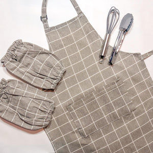 Brown Checkers Toddler Aprons for Baking and Cooking