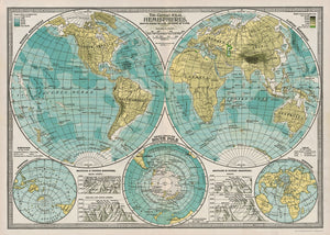 Cavallini Poster/Gift Wrap - World Map
