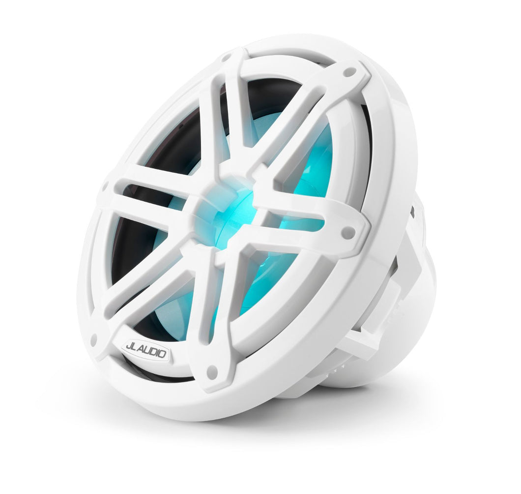 JL AUDIO M3 10-inch Marine Subwoofer for Infinite-Baffle Use (175 W, 4 Ohms) - Gloss White Sport Grille with RGB LED Illumination