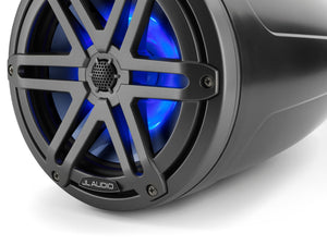 JL AUDIO M3 7.7-inch Marine Enclosed Coaxial Speaker System (70 W, 4 Ohms) - Satin Black Enclosure, Gunmetal Sport Grille with RGB LED Illumination