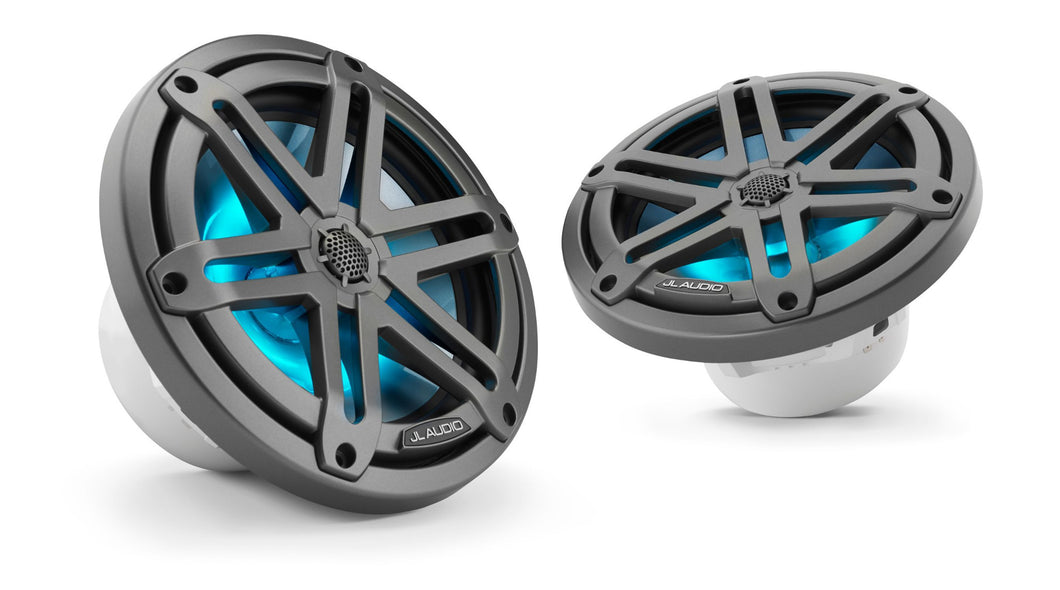 JL AUDIO M3 7.7-inch Marine Coaxial Speakers (70 W, 4 Ohms) - Gunmetal Sport Classic Grille with RGB LED Illumination
