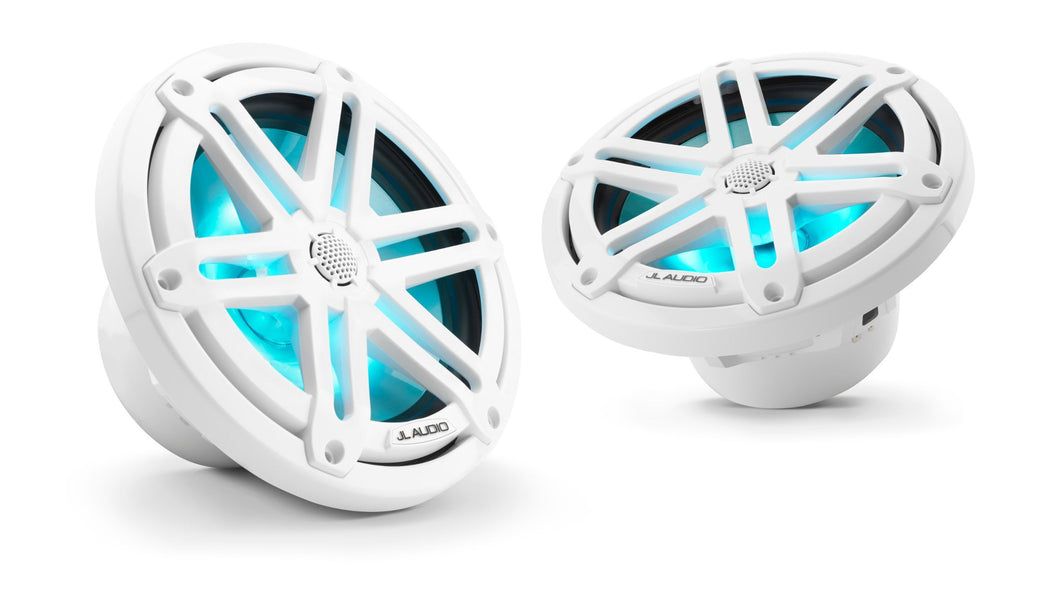 JL AUDIO M3 7.7-inch Marine Coaxial Speakers (70 W, 4 Ohms) - Gloss White Sport Grille with RGB LED Illumination