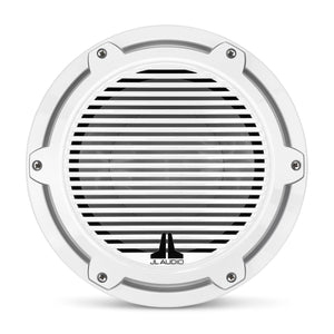 JL AUDIO M6 10-inch Marine Subwoofer Driver for Infinite-Baffle Use (250 W, 4 Ohms) - Gloss White Trim Ring, Gloss White Classic Grille