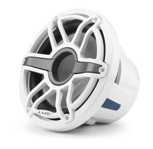 JL AUDIO M6 10-inch Marine Subwoofer Driver for Infinite-Baffle Use (250 W, 4 Ohms) - Gloss White Trim Ring, Gloss White Sport Grille