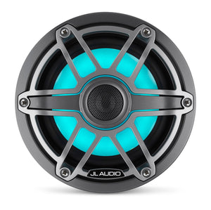 JL AUDIO M6 6.5-inch Marine Coaxial Speakers with Transflective  LED Lighting (75 W, 4 Ohms) - Gunmetal Trim Ring, Titanium Sport Grille