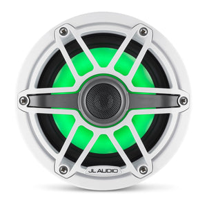 JL AUDIO M6 6.5-inch Marine Coaxial Speakers with Transflective  LED Lighting (75 W, 4 Ohms) - Gloss White Trim Ring, Gloss White Sport Grille