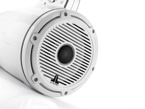 JL AUDIO M6 7.7-inch Marine Enclosed Coaxial Speaker System (100 W, 4 Ohms) - Gloss White Enclosure, Gloss White Trim Ring, Gloss White Classic Grille