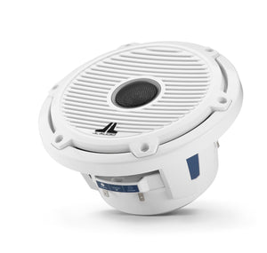 JL AUDIO M6 7.7-inch Marine Coaxial Speakers (100 W, 4 Ohms) - Gloss White Trim Ring, Gloss White Classic Grille