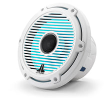 Load image into Gallery viewer, JL AUDIO M6 7.7-inch Marine Coaxial Speakers with Transflective  LED Lighting for Infinite-Baffle Use (100 W, 4 Ohms) - Gloss White Trim Ring, Gloss White Classic Grille