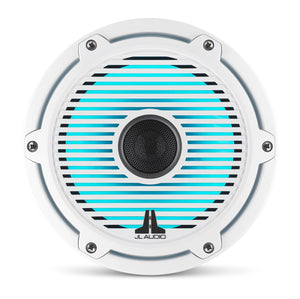 JL AUDIO M6 7.7-inch Marine Coaxial Speakers with Transflective  LED Lighting for Infinite-Baffle Use (100 W, 4 Ohms) - Gloss White Trim Ring, Gloss White Classic Grille