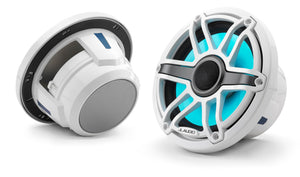 JL AUDIO M6 7.7-inch Marine Coaxial Speakers with Transflective  LED Lighting (100 W, 4 Ohms) - Gloss White Trim Ring, Gloss White Sport Grille