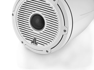 JL AUDIO M6 8.8-inch Marine Enclosed Coaxial Speaker System (125 W, 4 Ohms) - Gloss White Enclosure, Gloss White Trim Ring, Gloss White Classic Grille