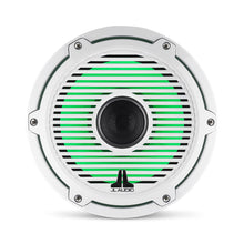 Load image into Gallery viewer, JL AUDIO M6 8.8-inch Marine Coaxial Speakers with Transflective  LED Lighting (125 W, 4 Ohms) - Gloss White Trim Ring, Gloss White Classic Grille