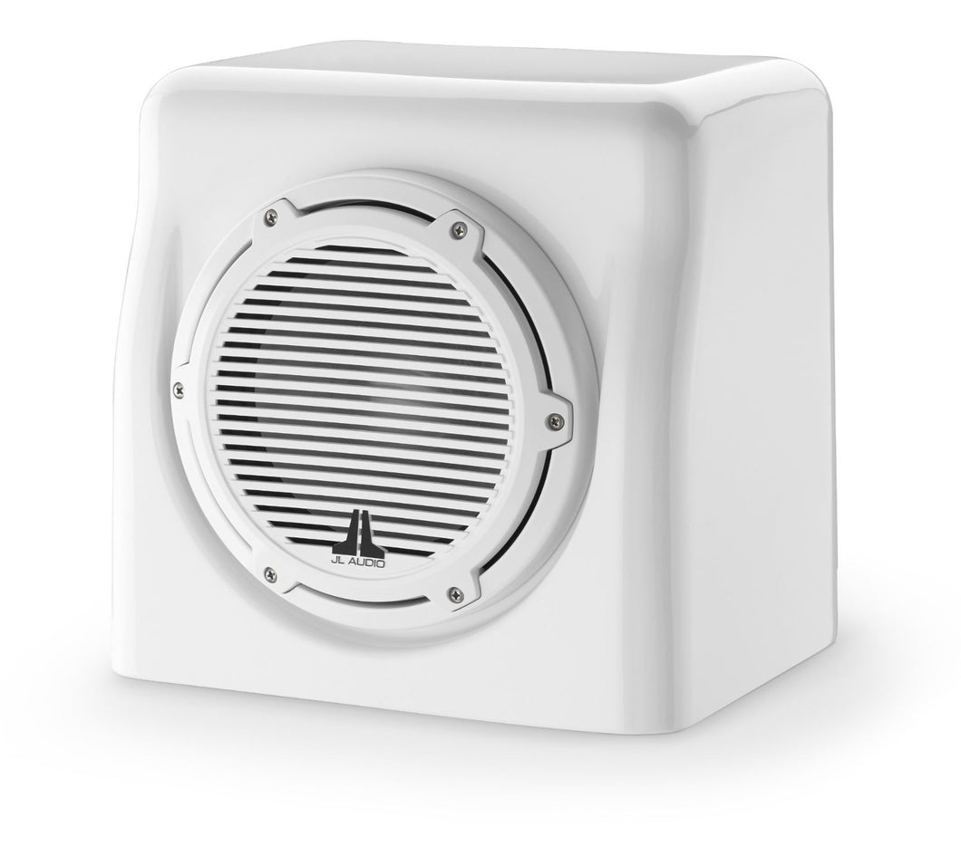 JL AUDIO Enclosed Subwoofer System with M6-8W Subwoofer (200 W, 4 Ohms) - Gloss White Enclosure, Gloss White Trim Ring, Gloss White Classic Grille