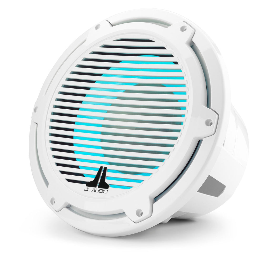 JL AUDIO M7 12-inch Marine Subwoofer with Transflective  LED Lighting for Infinite-Baffle Use (600 W, 4 Ohms) - Gloss White Trim Ring, Gloss White Classic Grille
