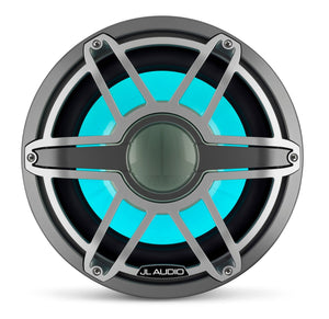 JL AUDIO M7 12-inch Marine Subwoofer with Transflective  LED Lighting for Infinite-Baffle Use (600 W, 4 Ohms) - Gunmetal Trim Ring, Titanium Sport Grille