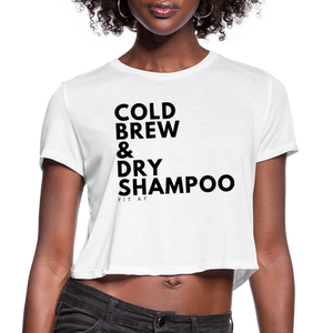 Cold Brew & Dry Shampoo Crop Top - white