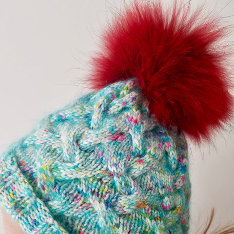 Winter Cable Hat Kit Kaleidoscope, Blue Hawaii Mohair & Red or Fuchsia Fur Pompom