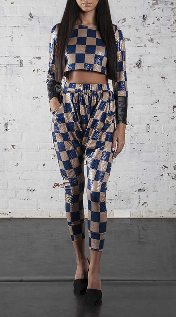 Checkered Leather Sleeve Crop Top