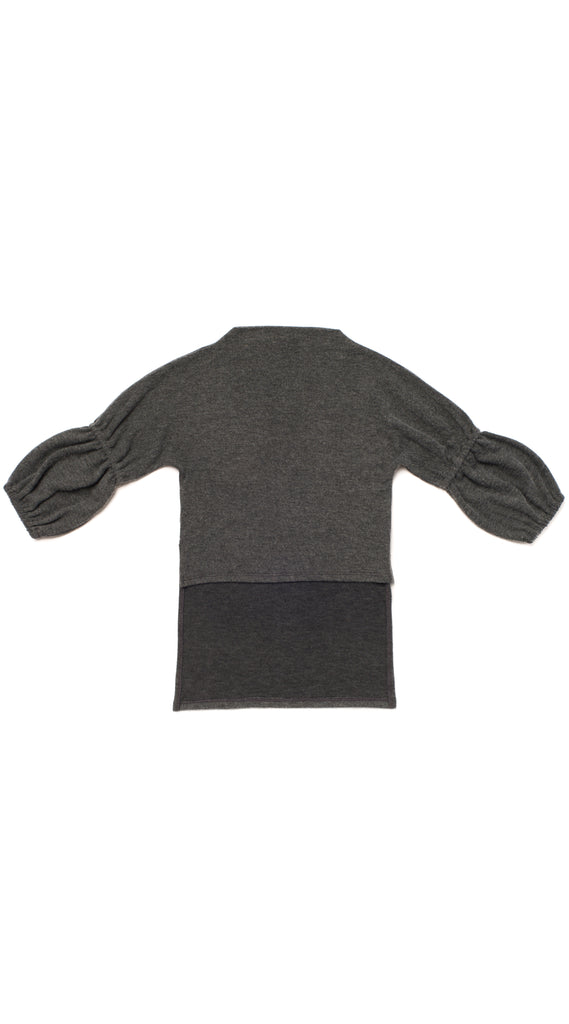 Bubble Sleeve Knit Tunic - Charcoal