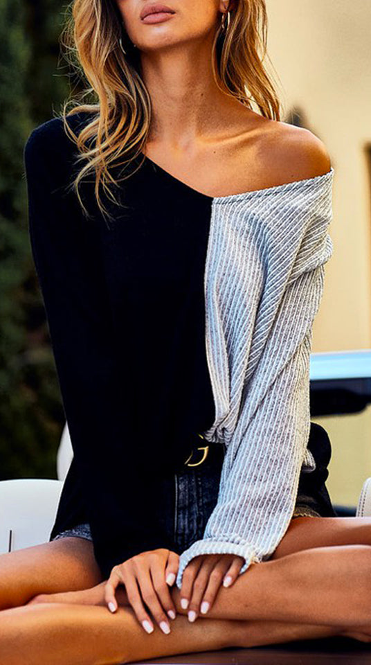 Oversized Color Block Sweater