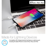 Naztech LED MFi Lightning Charge & Sync Cable - White